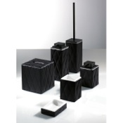 Bathroom Accessory Set Palace Black Accessory Set of Faux Leather Gedy 5900-14