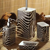 Bathroom Accessory Set Safari Zebra Design Bathroom Accessory Set Gedy ZB100