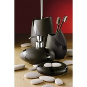 Bathroom Accessory Set Stone Moka Accessory Set of Pottery and Brass Gedy ST100-29