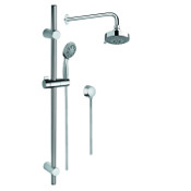 Shower System Chrome Shower System with Hand Shower with Sliding Rail, Showerhead, and Water Connection Gedy SUP1003