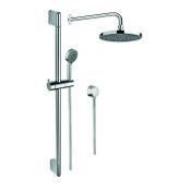 Shower System Chrome Shower System with Hand Shower with Sliding Rail, Showerhead, and Water Connection Gedy SUP1016