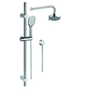Shower System Chrome Shower System with Hand Shower, Sliding Rail, Showerhead, and Water Connection Gedy SUP1031