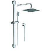 Shower System Polished Chrome Shower Solution with Hand Shower and Sliding Rail, Showerhead, and Water Connection SUP1039 Gedy SUP1039