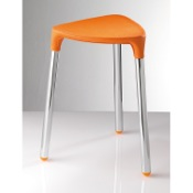 Bathroom Stool Orange Faux Leather Stool 2172-E7 Gedy 2172-E7