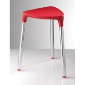 Bathroom Stool Red Faux Leather Stool 2172-E6 Gedy 2172-E6