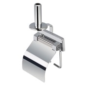 Toilet Paper Holder Chromed Stainless Steel Toilet Roll Holder with Cover and Spare Holder Geesa 5144-A