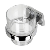 Toothbrush Holder Wall Mounted Bathroom Tumbler with Chrome Holder Geesa 6138