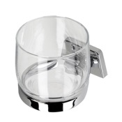 Toothbrush Holder Clear Glass Wall Mounted Bathroom Tumbler with Chrome Holder Geesa 7138