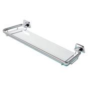 Bathroom Shelf 20 Inch Clear Glass Bathroom Shelf Holder with Chrome Geesa 7191-50