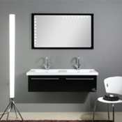 Bathroom Vanity Dual Sink Vanity Set with Backlight Horizontal Mirror FL5 Iotti FL5