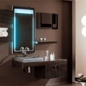 Bathroom Vanity Modern Wenge Vanity Set with Zebrano Finishing Grafite Doors NC1 Iotti NC1