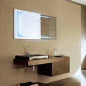 Bathroom Vanity Modern Wenge Vanity Set with Leather Finished Doors NC2 Iotti NC2