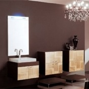 Bathroom Vanity Decorative Wenge Vanity Set with Golden Finished Doors NC3 Iotti NC3