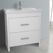 Bathroom Vanity 31 Inch Floor Standing White Vanity Cabinet With Fitted Sink Nameeks LOT-F01