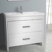Bathroom Vanity 39 Inch Floor Standing White Vanity Cabinet With Fitted Sink Nameeks LOT-F02