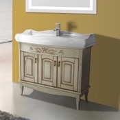 Bathroom Vanity 39 Inch Floor Standing Vanilla Vanity Cabinet With Fitted Sink Nameeks MI-F02