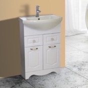 Bathroom Vanity 23 Inch Floor Standing White Vanity Cabinet With Fitted Sink Nameeks CLA-F01