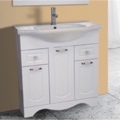 Bathroom Vanity 31 Inch Floor Standing White Vanity Cabinet With Fitted Sink Nameeks CLA-F02