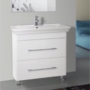 Bathroom Vanity 32 Inch Floor Standing White Vanity Cabinet With Fitted Sink Nameeks PA-F01