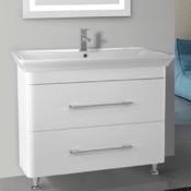 Bathroom Vanity 38 Inch Floor Standing White Vanity Cabinet With Fitted Sink Nameeks PA-F02