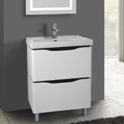 Bathroom Vanity 24 Inch Floor Standing White Vanity Cabinet With Fitted Sink Nameeks VN-F01