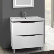 Bathroom Vanity 32 Inch Floor Standing White Vanity Cabinet With Fitted Sink Nameeks VN-F02