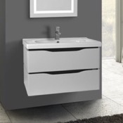 Bathroom Vanity 31 Inch Wall Mounted White Vanity Cabinet With Fitted Sink Nameeks VN-W02