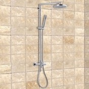 Exposed Pipe Shower Chrome Shower System With Overhead Shower and Hand Shower Remer J37B