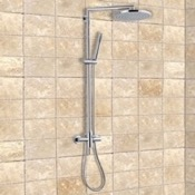 Exposed Pipe Shower Wall-Mounted Shower System With Overhead Shower, Sliding Rail, and Hand Shower Remer N37BXL