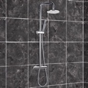Exposed Pipe Shower Chromed-Brass Shower Column With Overhead Shower, Sliding Rail, and Hand Shower Remer N37R