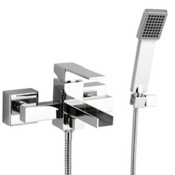 Tub Filler Single Lever External Bath Shower Mixer with Waterfall Spout and Hand Shower Remer QC02US