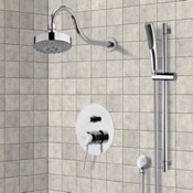 Shower Faucet Chrome Shower System with Multi Function Shower Head and Hand Shower Remer SFR7105