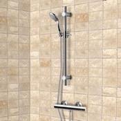 Shower Faucet Chrome Thermostatic Slidebar Shower Set With Multi Function Hand Shower Remer SR026