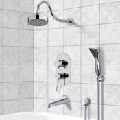 Tub and Shower Faucet Chrome Tub and Shower System with Multi Function Shower Head and Hand Shower Remer TSH4108