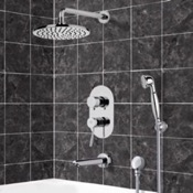 Tub and Shower Faucet Thermostatic Tub and Shower System with 8