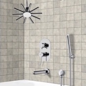Tub and Shower Faucet Tub and Shower System with Ceiling Shower Head and Hand Shower Remer TSH4540