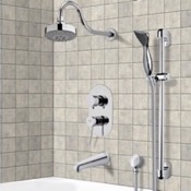 Tub and Shower Faucet Chrome Tub and Shower System with Multi Function Shower Head and Hand Shower Remer TSR9108