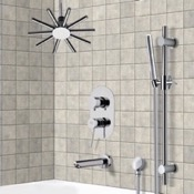 Tub and Shower Faucet Tub and Shower System with Ceiling Shower Head and Hand Shower Remer TSR9540