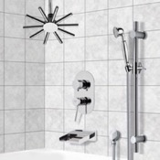 Tub and Shower Faucet Tub and Shower System with Ceiling Shower Head and Hand Shower Remer TSR9541