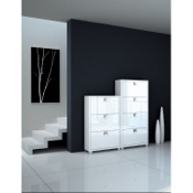 Shoe Rack Glossy White Shoe Racks With Folding Double-Depth Doors 573-574-GW Sarmog 573-574GW