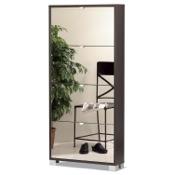 Shoe Rack Shoe Rack With 4 Folding Single-Depth Mirror Doors With Wenge Base 754WE-SP Sarmog 754WE-SP