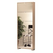Shoe Rack Shoe Rack with 5 Folding Single-Depth Mirror Doors With Natural Oak Base 755NO-SP Sarmog 755NO-SP