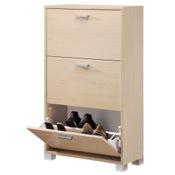 Shoe Rack Natural Oak Shoe Rack with 3 Folding Double-Depth Doors 763NO Sarmog 763NO