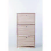 Shoe Rack Clear Elm Shoe Rack with 3 Double-Depth Folding Doors Sarmog A553-Clear Elm