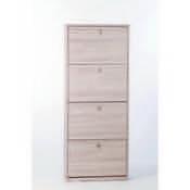 Shoe Rack Clear Elm Shoe Rack with 4 Folding Doors Sarmog A554-Clear Elm