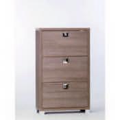 Shoe Rack Gray Oak Shoe Rack with 3 Double-Depth Folding Doors Sarmog A573-Gray Oak