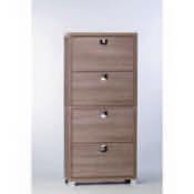 Shoe Rack Gray Oak Shoe Rack with 4 Double-Depth Folding Doors Sarmog A574-Gray Oak