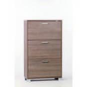 Shoe Rack Gray Oak Shoe Rack with 3 Double-Depth Folding Doors Sarmog A763-Gray Oak