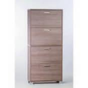 Shoe Rack Gray Oak Shoe Rack with 4 Double-Depth Folding Doors Sarmog A764-Gray Oak