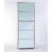 Shoe Rack Clear Elm Shoe Rack with 5 Double-Depth Mirror Folding Doors Sarmog A765SP-Clear Elm